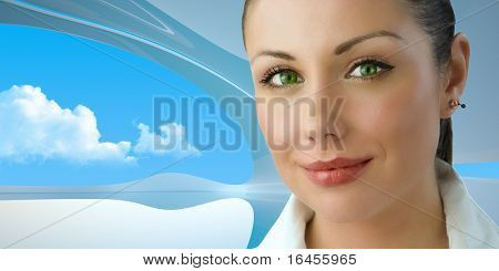 Attractive green-eyed young businesswoman (remarkable future interiors series with furniture, people and copy space)