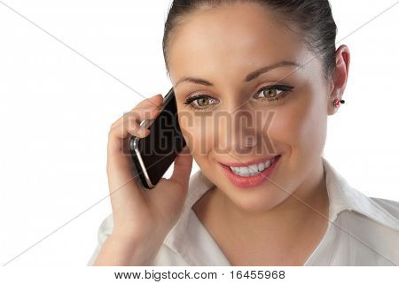 Attractive young woman talking over touch phone (business people isolated on white background series)
