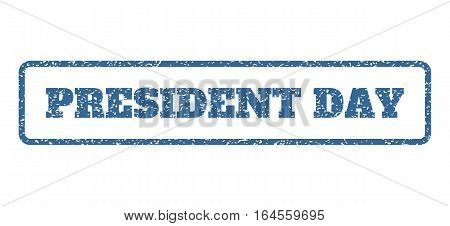 Cobalt Blue rubber seal stamp with President Day text. Vector tag inside rounded rectangular banner. Grunge design and dust texture for watermark labels. Horisontal sticker on a white background.