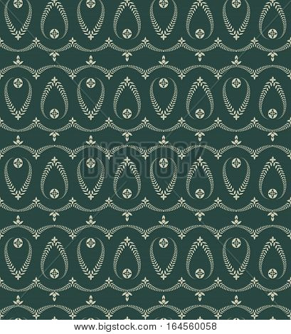Religion seamless pattern. Laurel wreath, lace view texture with cross. Ceremonial, funeral background. Swirl stylized ornament. Green, gray colored. Vector