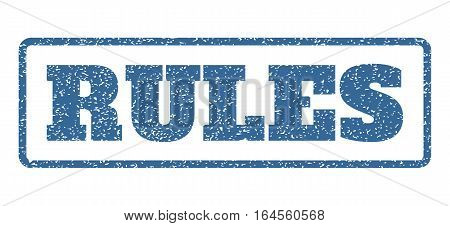 Cobalt Blue rubber seal stamp with Rules text. Vector message inside rounded rectangular shape. Grunge design and scratched texture for watermark labels. Horisontal emblem on a white background.