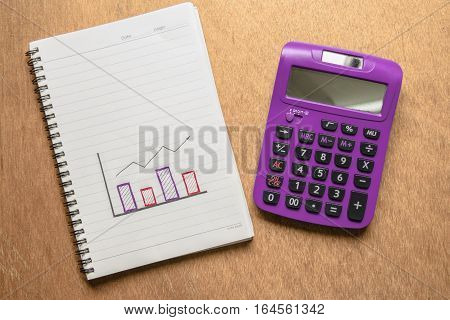 Purple Calculator And Chart Hand Drawn With Space For Text. Business And Finance Concept.