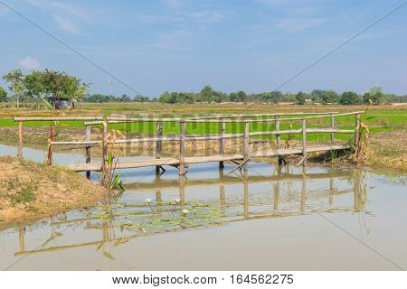 Outdoor Countryside. Background Photography Of Countryside, The Canal Bridge. Agriculture Concept.