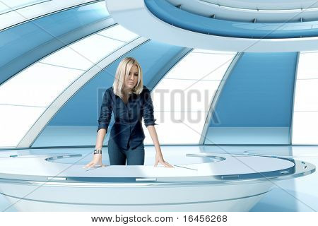 Sexy blonde boss in future interior office room. Leans on the oval futuristic table. Future collection.