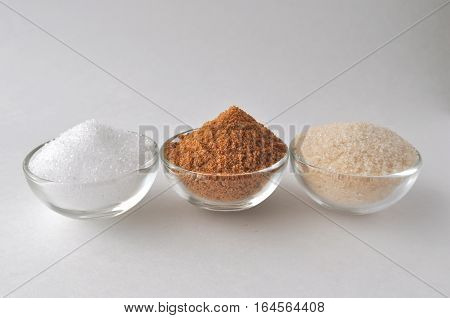 Alternative sweeteners and sugar substitutes - coconut bud sugar, xylitol, cane sugar, maple syrup and honey