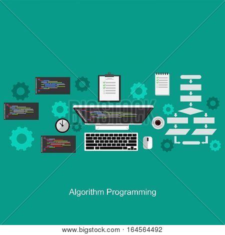Algorithm programming concept. Flat design illustration concepts for analysis working brainstorming coding programming and planning.