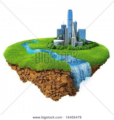Cityscape on a lawn with river, waterfall. Fancy island in the air isolated. Detailed ground in the base. Concept of success and happiness, idyllic modern harmony lifestyle.