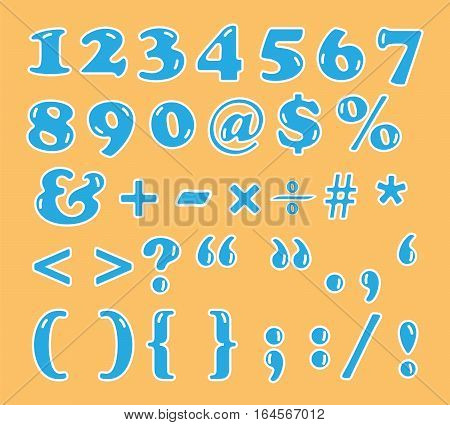 cute numbers and signs font vector illustration set showing on orange background