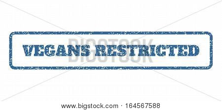 Cobalt Blue rubber seal stamp with Vegans Restricted text. Vector tag inside rounded rectangular shape. Grunge design and dust texture for watermark labels. Horisontal sticker on a white background.