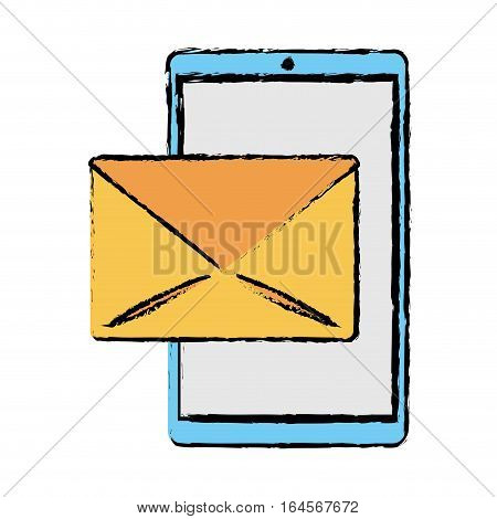 drawing smartphone email message mail vector illustration eps 10