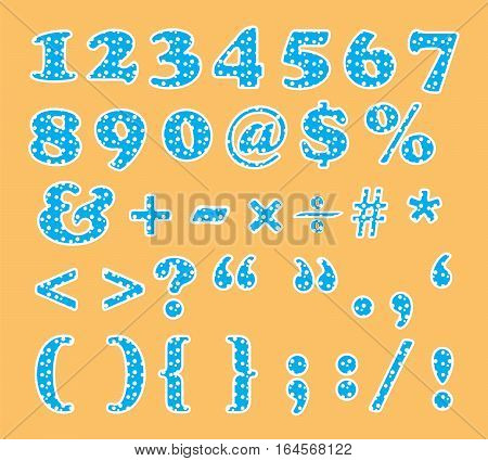 cute numbers and signs font vector illustration set with circle pattern showing on orange background
