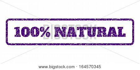 Indigo Blue rubber seal stamp with 100 Percent Natural text. Vector tag inside rounded rectangular frame. Grunge design and dirty texture for watermark labels. Horisontal emblem on a white background.