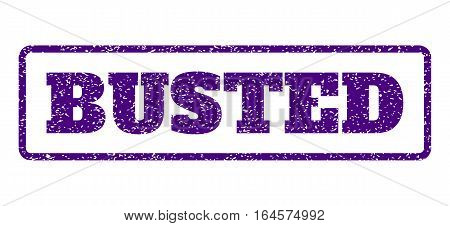 Indigo Blue rubber seal stamp with Busted text. Vector caption inside rounded rectangular shape. Grunge design and scratched texture for watermark labels. Horisontal sign on a white background.