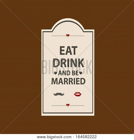 Wedding sticker to feast on a light background. Vector illustration