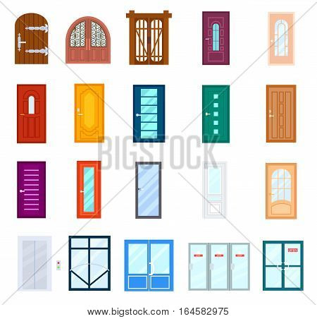 Store Doors Clipart entrance door set isolated on white background vector illustration