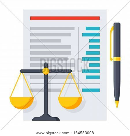 Balance sheet report with scales and pen