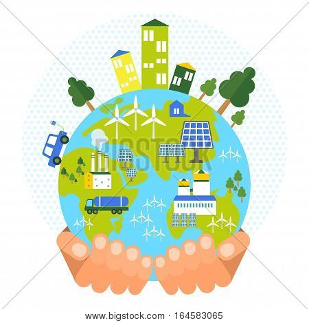 Eco business friendly concept. Flat vector cartoon illustration. Objects isolated on a white background.