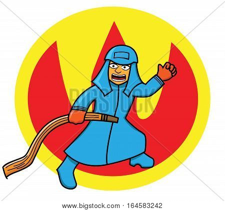 Vector Illustration of a firefighter or fireman in action with fire hose isolated background
