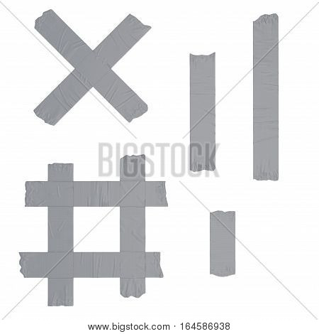 Duct repair tape strips set silver isolated on white background. 3D illustration