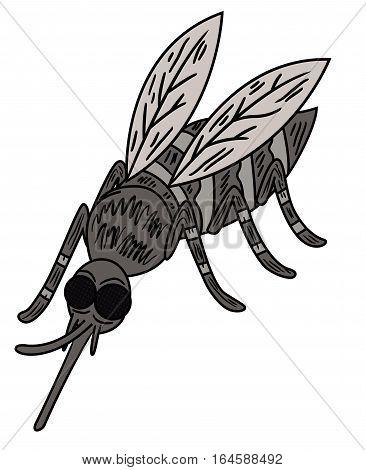 Wild Mosquito Cartoon Animal Character. Vector illustration.