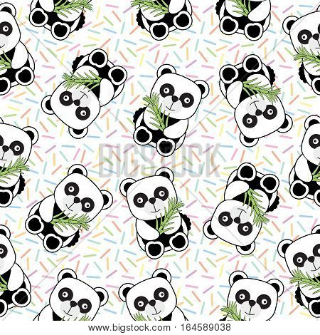 Seamless background of Birthday illustration with cute baby panda on sprinkles background suitable for birthday wallpaper, scrap paper and postcard
