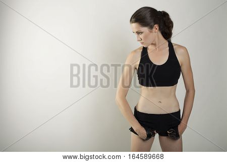 Young Woman Fight Posing Studio Shot Isolated