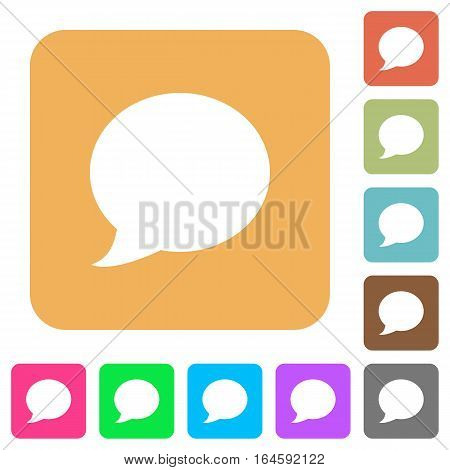 Blog comment bubble flat icons on rounded square vivid color backgrounds.