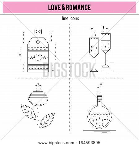 Valentine's Day, feelings of romance and love. Thin line icons set, vector illustration. Black on white pictograms, romantic isolated symbols. Simple mono linear modern design.
