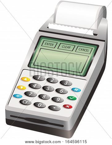 An illustration of a modern wireless PIN cash payment machine. Screen and paper roll are blank for your own message.