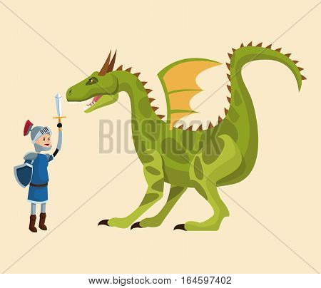 knight and dragon fighting tale vector illustration eps 10