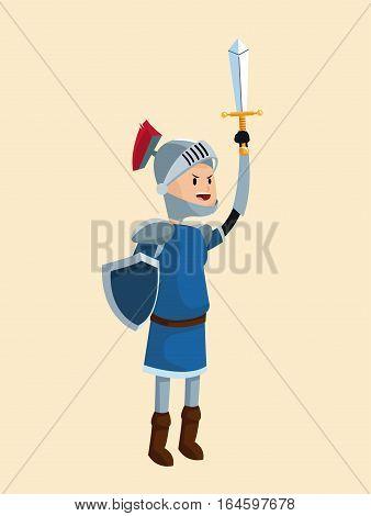 prince knight armor sword shield vector illustration eps 10
