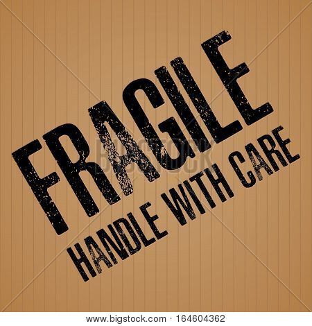 Fragile with Handle with care on brown cardboard texture background.