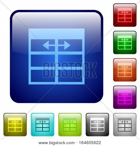 Spreadsheet adjust table column width icons in rounded square color glossy button set