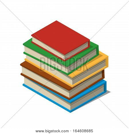 Stack of new 3d colorful books and tutorials. Isometric flat classbooks and textbooks icon. Education symbol logo. Illustration vector art.