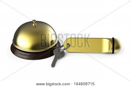 Hotel key and bell isolated on white background 3D rendering