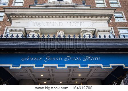 Grand Rapids, Michigan, USA -  September 17, 2016: The historical Amway Grand Plaza Hotel is a luxury four star hotel owned by the Hilton Hotel chain and is located in downtown Grand Rapids, Michigan.