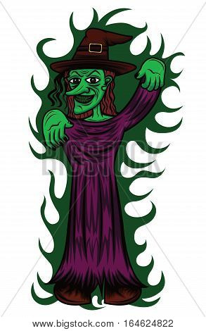 Witch Casting Spell Cartoon Horror Character. Vector Illustration.