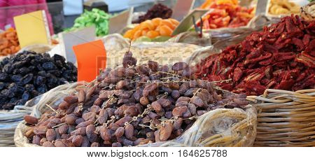 Basket Of Dried Dates And Dried Tomatoes For Sale