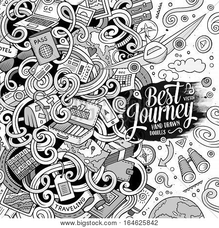 Cartoon cute doodles hand drawn Travel frame design. Line art detailed, with lots of objects background. Funny vector illustration. Sketchy border with traveling theme items