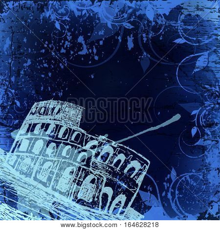 Vector illustration, Rome label with hand drawn Coliseum