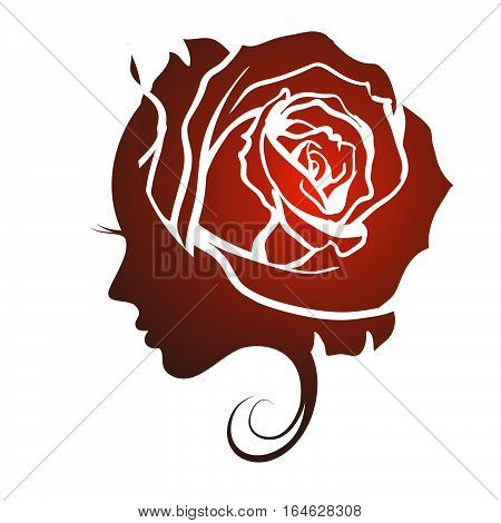 Female profile face in rose flower shape. Woman with rose petals in hair. Vector beauty floral logo, sign, label design. Concept for beauty salon, massage, spa, natural cosmetics, hairstyle.