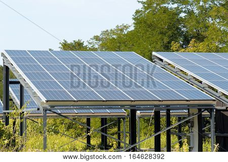 A solar panels in the french countryside