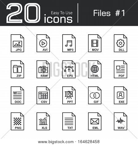 Files icon set 1 ( jpg avi mp3 mov dll zip raw eps html pdf doc csv ppt gif exe png xls txt eml wav )