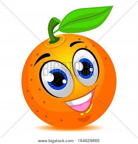 Vector Illustration of Orange Fruit Mascot Smiling