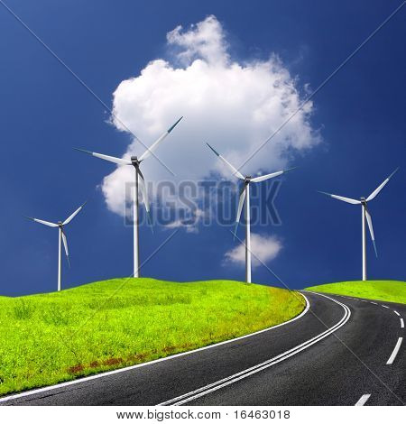 Empty road and windmill