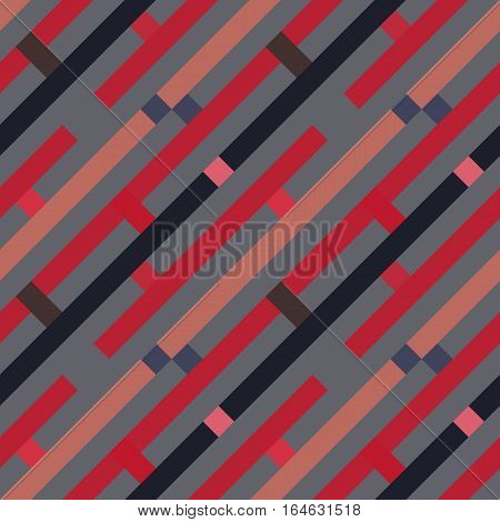 Seamless geometric stripy pattern. Texture of diagonal strips, lines and rectangles. Gray, brown, red, violet pastel colored background. Labyrinth theme. Vector