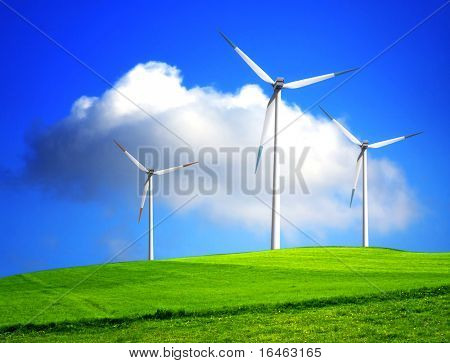 Wind Turbines on green grass and blue sky