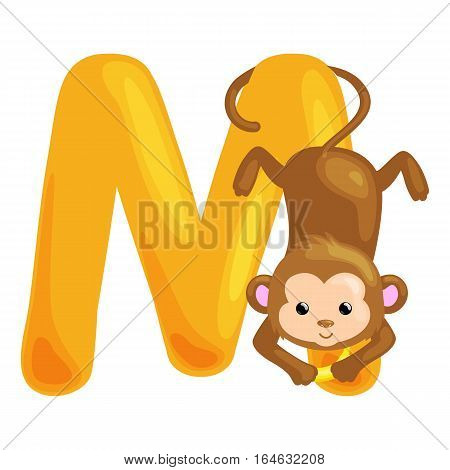 monkey animal letter m kids abc vector & photo | bigstock