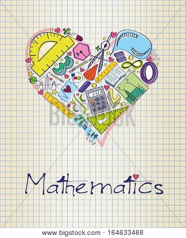 Vector illustration of mathematics in shape of heart