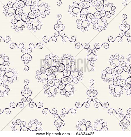 Seamless lace pattern. Vintage, spiral, floral texture. Swirl ornament of laurel leaves. Dark figure on light background. Purple colored. Vector